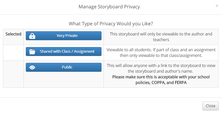 Manage Storyboard Privacy