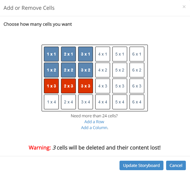 How to remove cells in storyboard software example