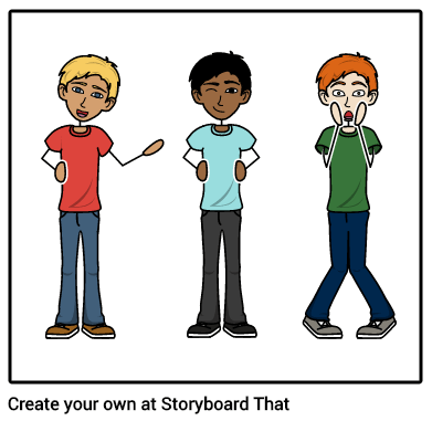 Storyboard character examples in different colors