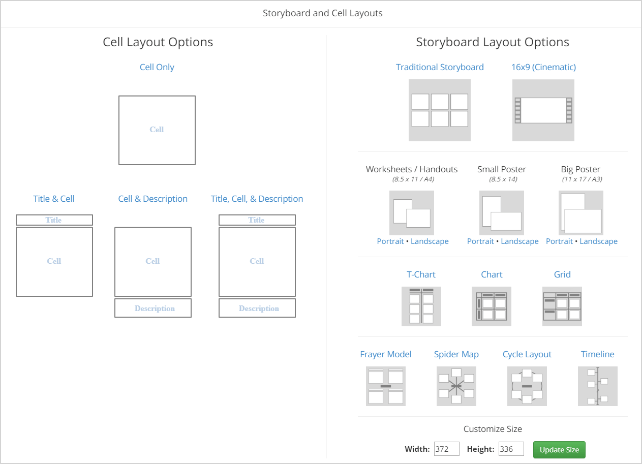 Layouts de software de storyboard - gráfico t, modelo frayer, timeline, grid, widescreen