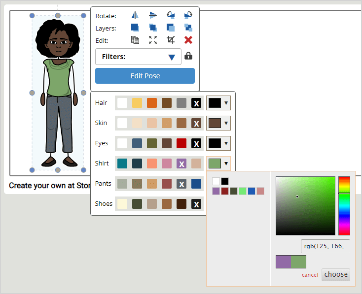 Storyboard Creator Software Help - Color Wheel