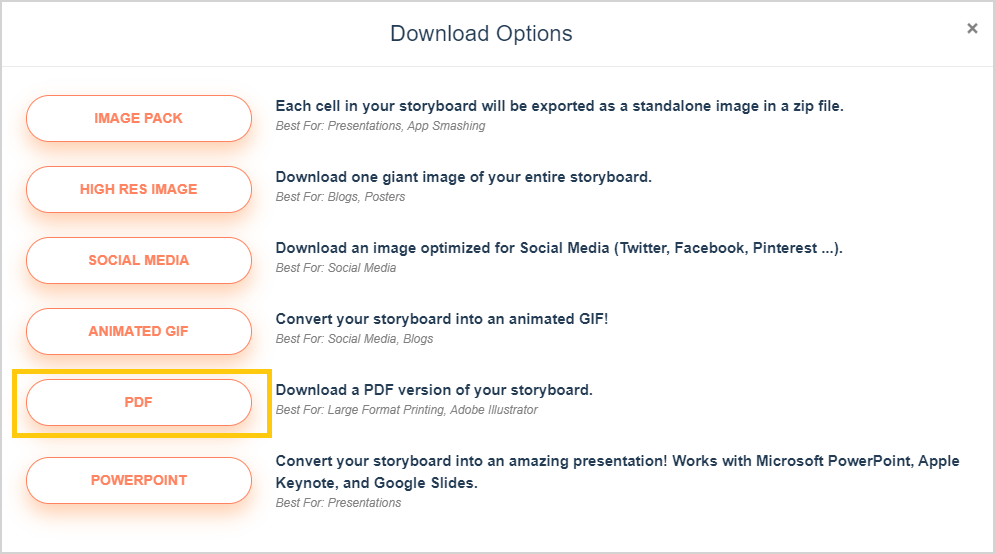 Download Storyboard Options - PDF Mulighed Cirklet