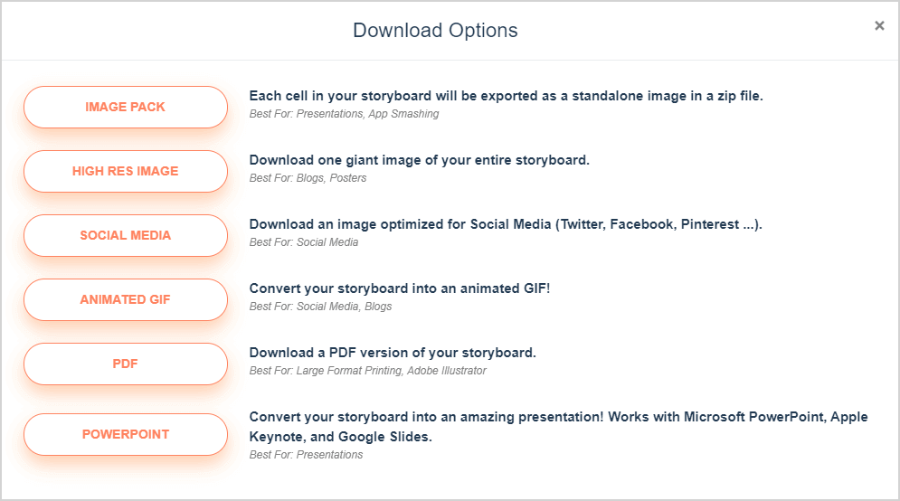 Storyboard Download and Export Options