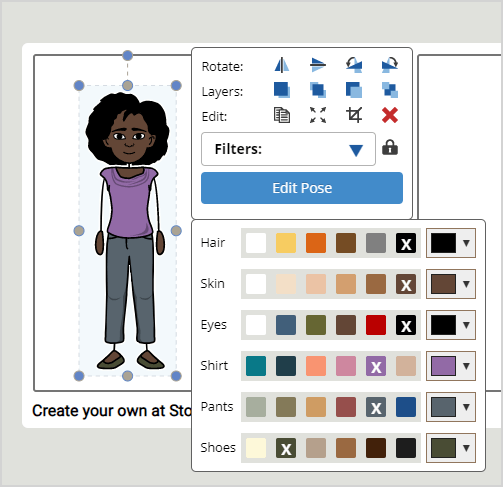 Storyboard character color selections