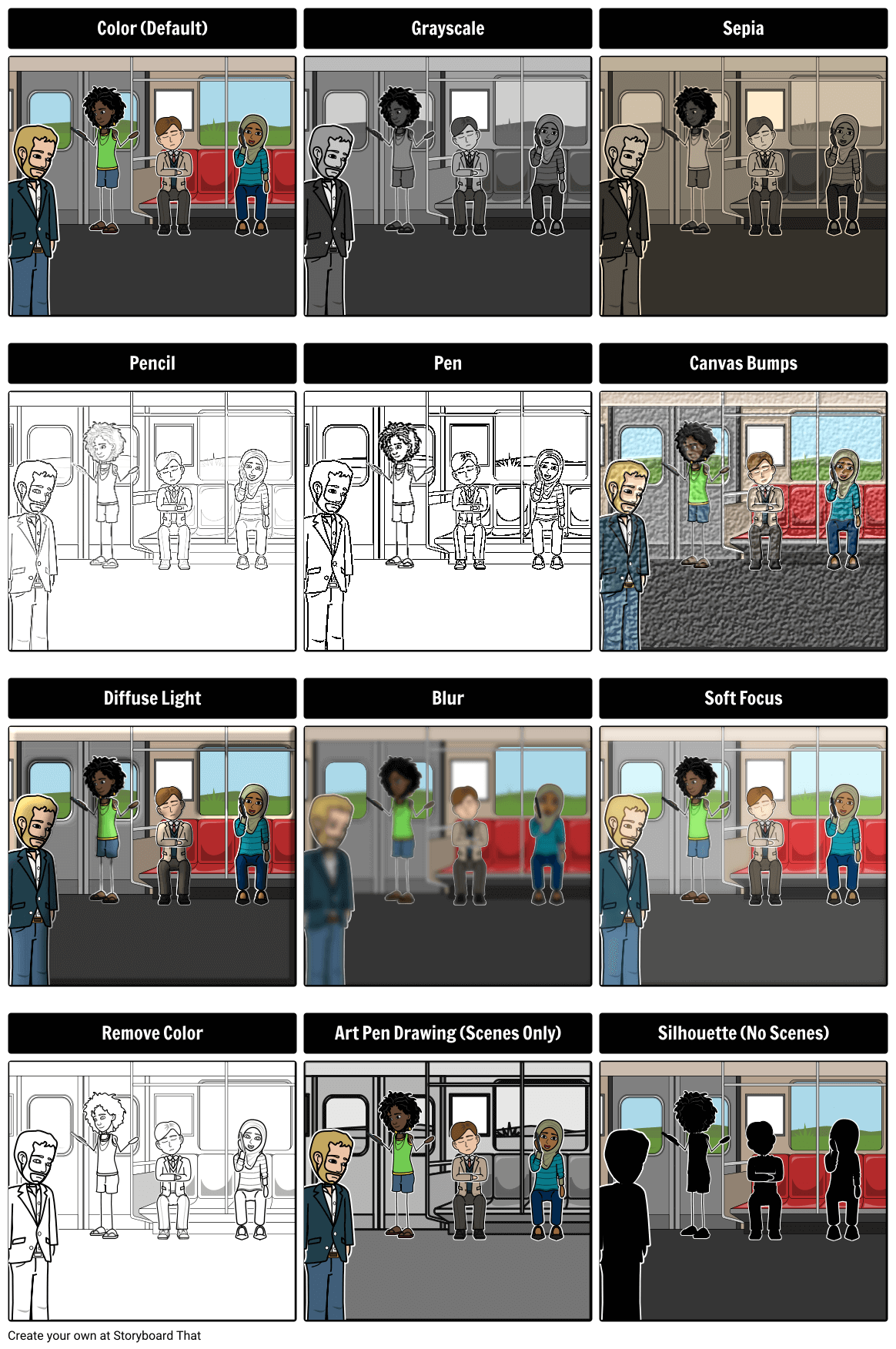 Using filters in storyboard software