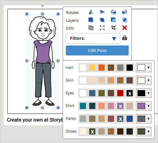Storyboard creator color selector example