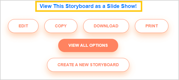 Presentere et storyboard i en lysbildeserie i storyboard software