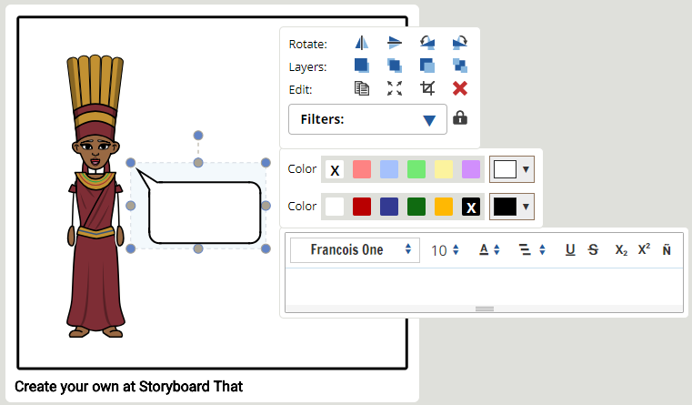 Formatering Text i storyboard program- Steg 1