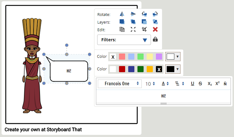 Formatting Text help in storyboard software - Step 2