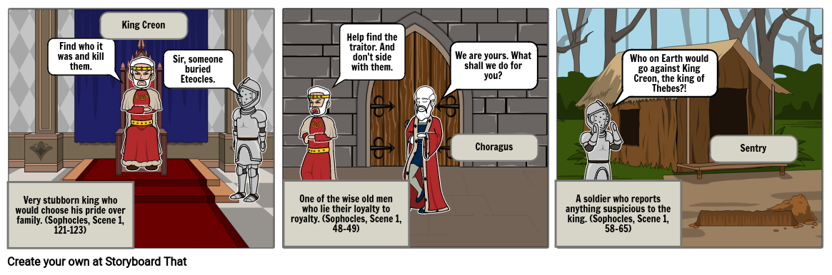Antigone Scene 1 Comic Strip