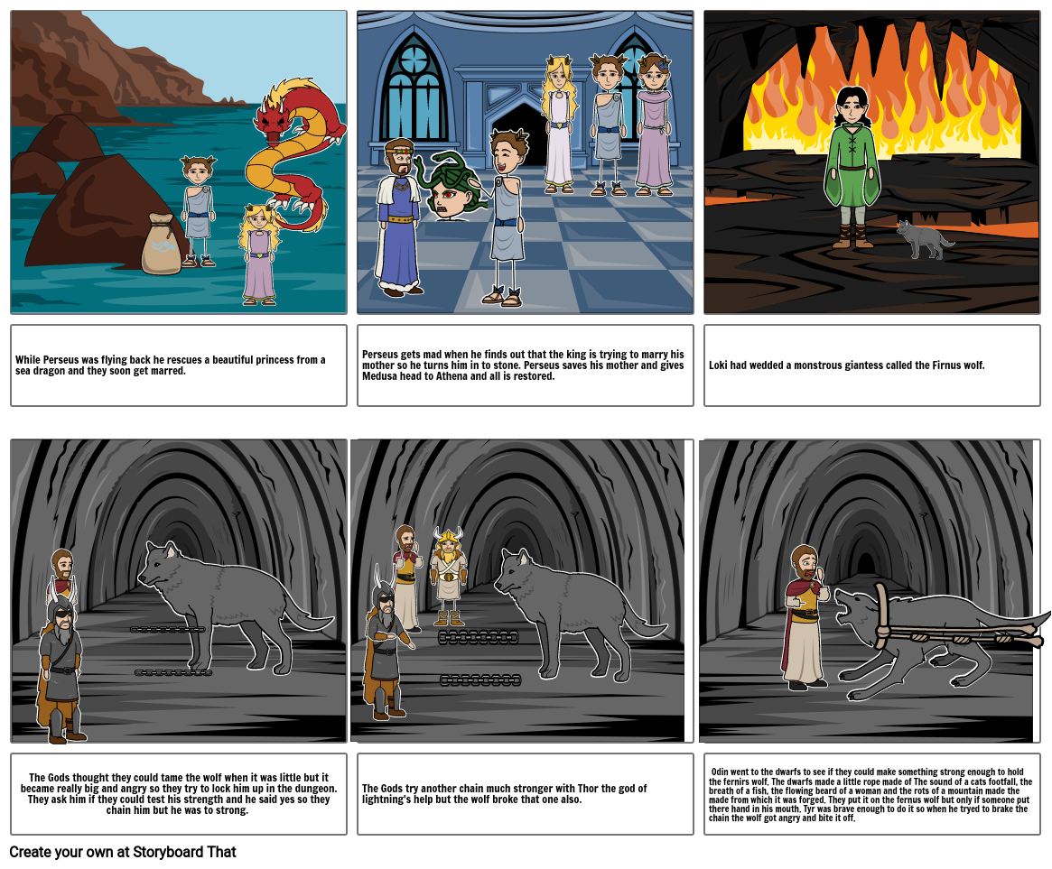 Perseus part 2 and Firnus wolf part 1 story board