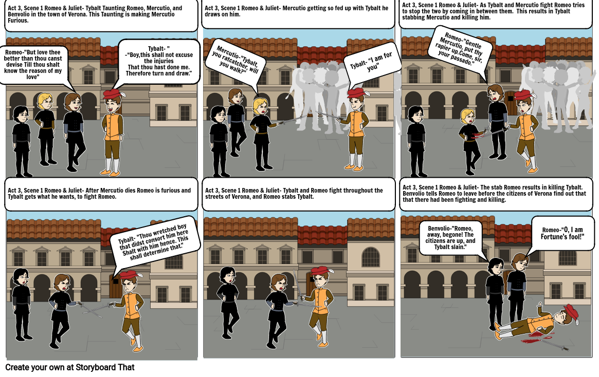 Romeo and Juliet Comic Strip
