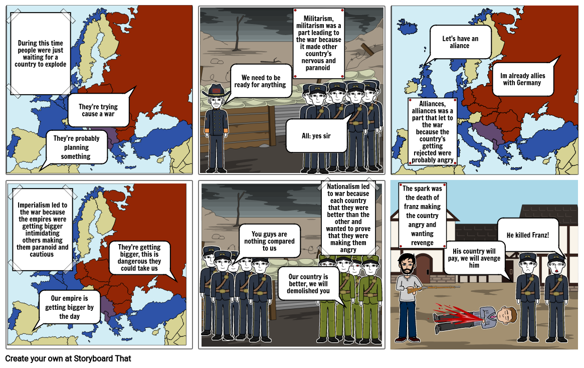 WWI causes storyboard comic project