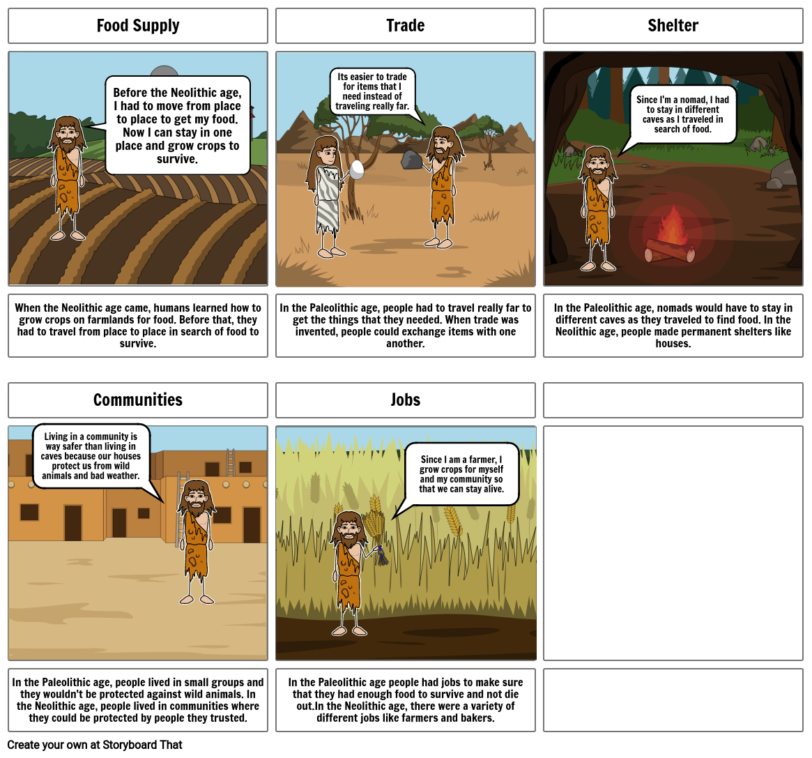 Farmers to gatherers storyboard