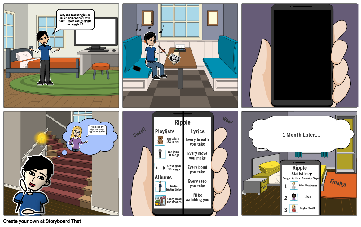 Storyboard for music application