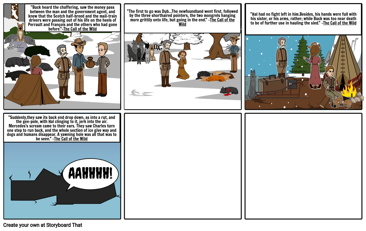 Chapter 5 Call of the Wild important parts Storyboard