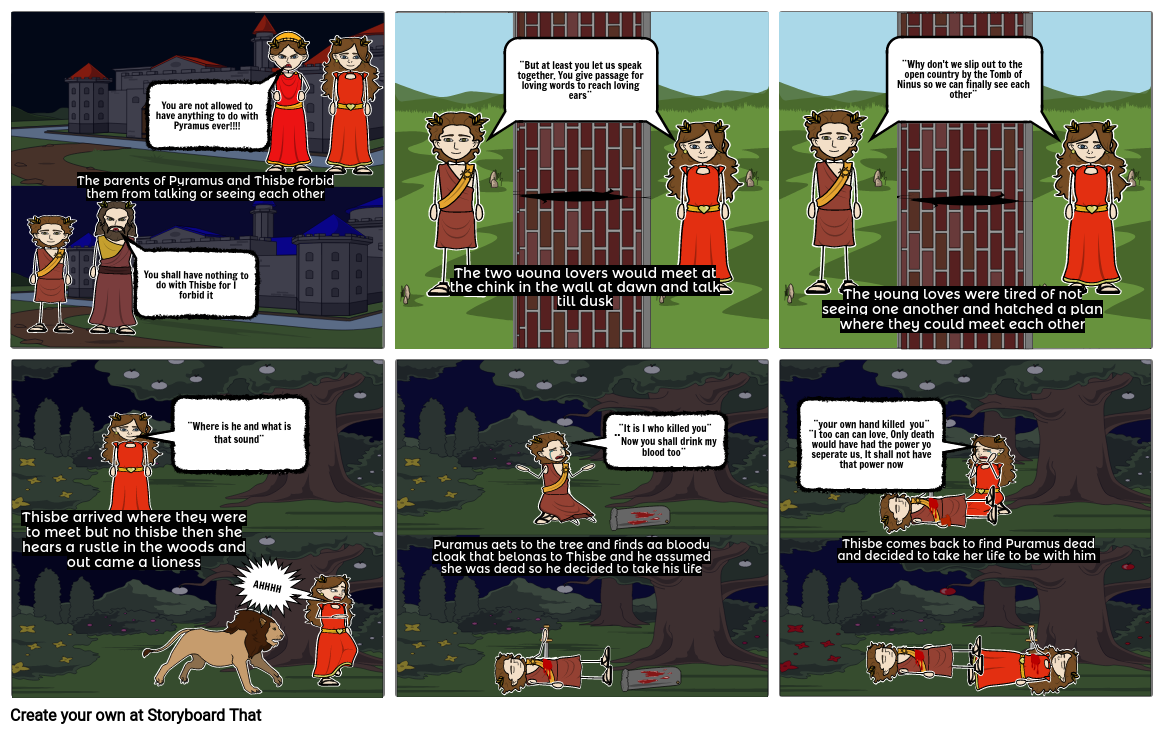 mythology/ Pyramus and Thisbe story board
