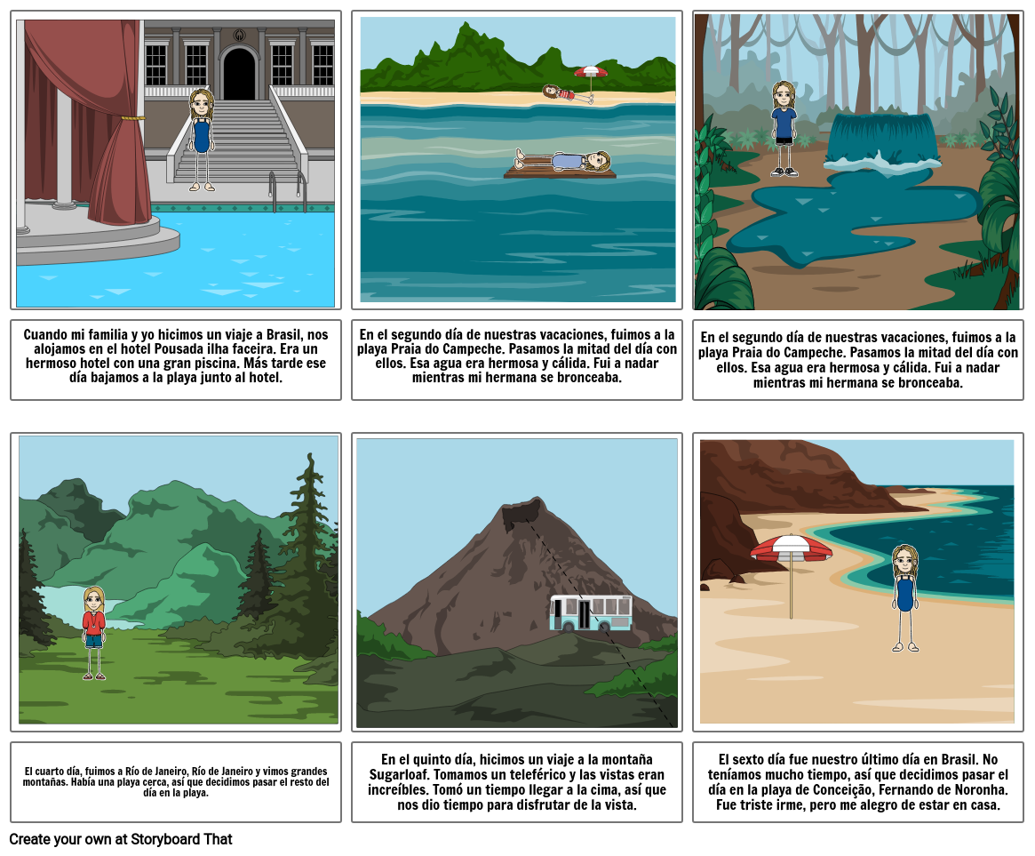 Storyboard for vacation to brazil in spanish