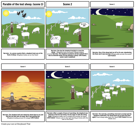 Leo Smithson-Parable of the lost sheep storyboard
