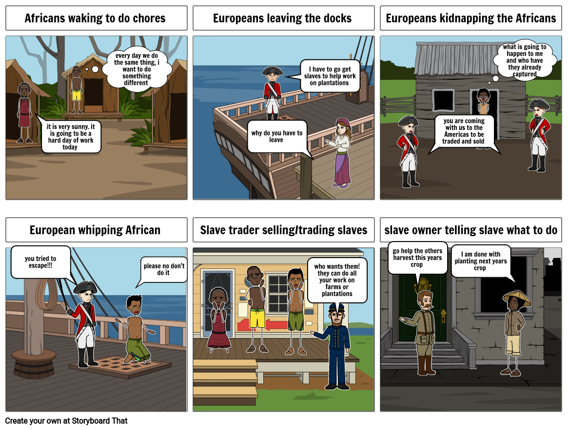 African Slave Trade Comic Strip