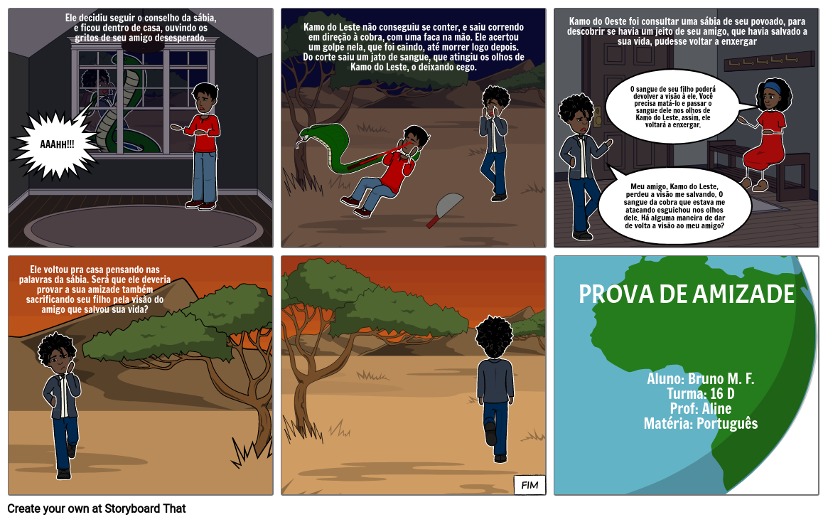História em quadrinhos do trabalho de português: Prova de amizade parte 3