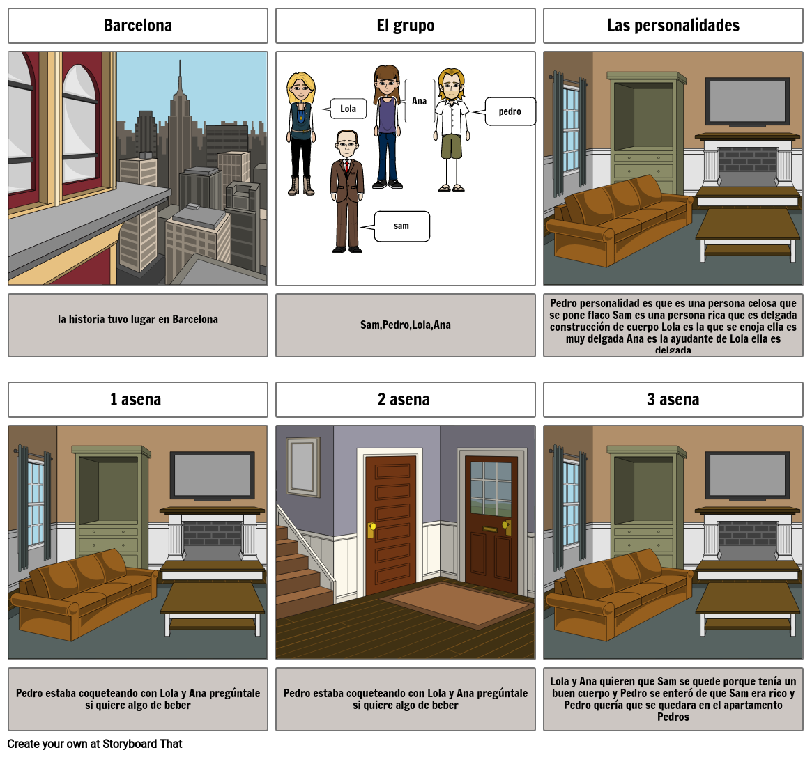 my first story board Spanish