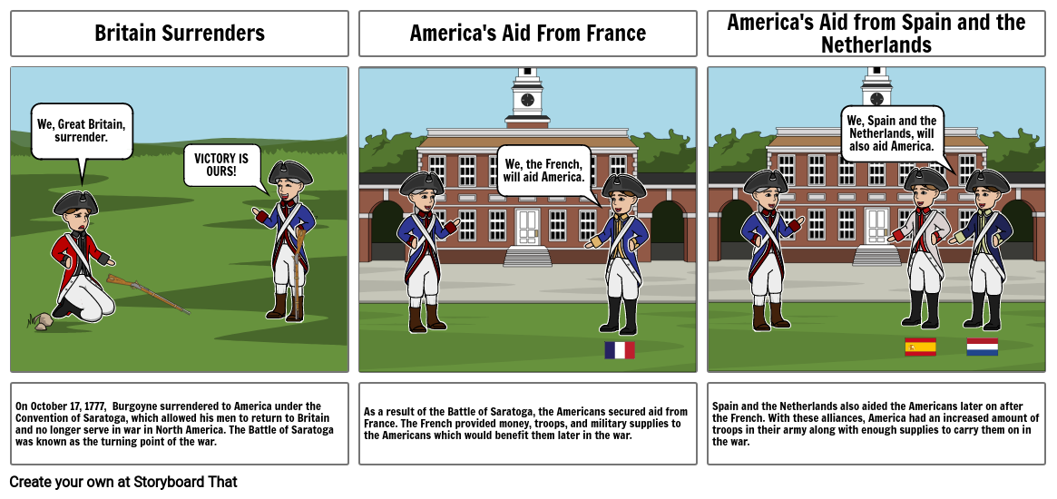 The Battle of Saratoga & Americans Secure Aid From Europe Storyboard