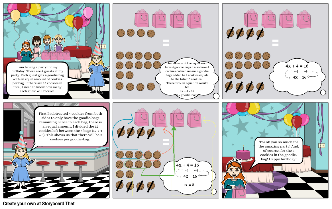 Math Storyboard - Party with Algebraic Equations