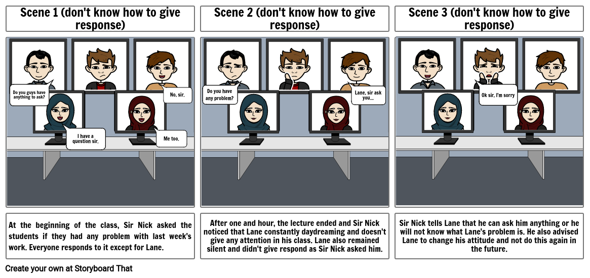 don't know how to give response storyboard