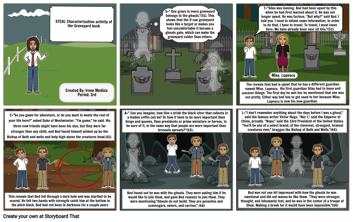 STEAL Characterization activity the Graveyard book- Irene Medina
