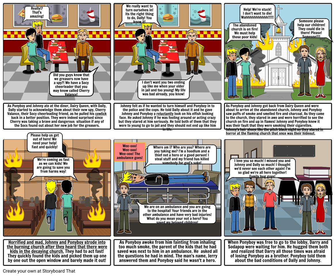 The Outsiders Storyboard Project for Chapter 6 By: Ricci Granberg