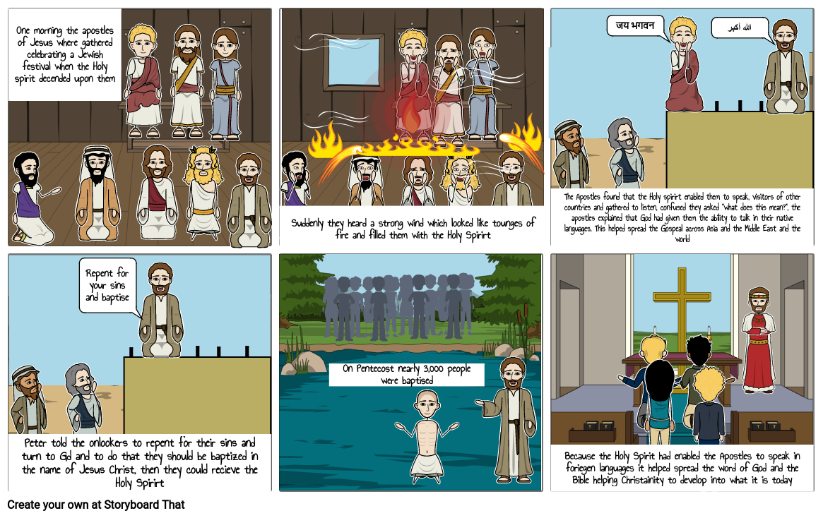Religious study Story board of Pentecost