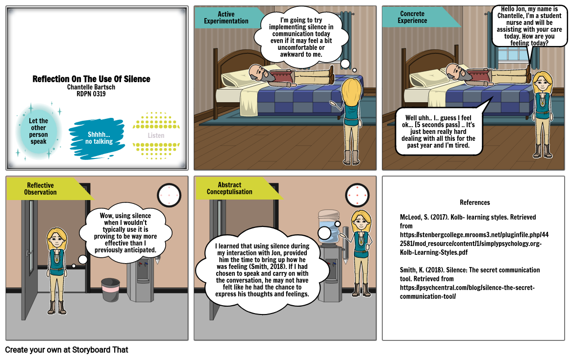 Reflection on the use of silence- T/R- Week 9 StoryboardThat
