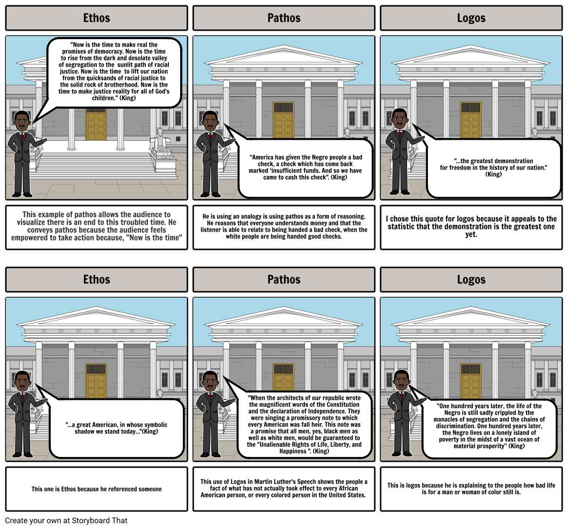 I Have a Dream Ethos Pathos and Logos Storyboard
