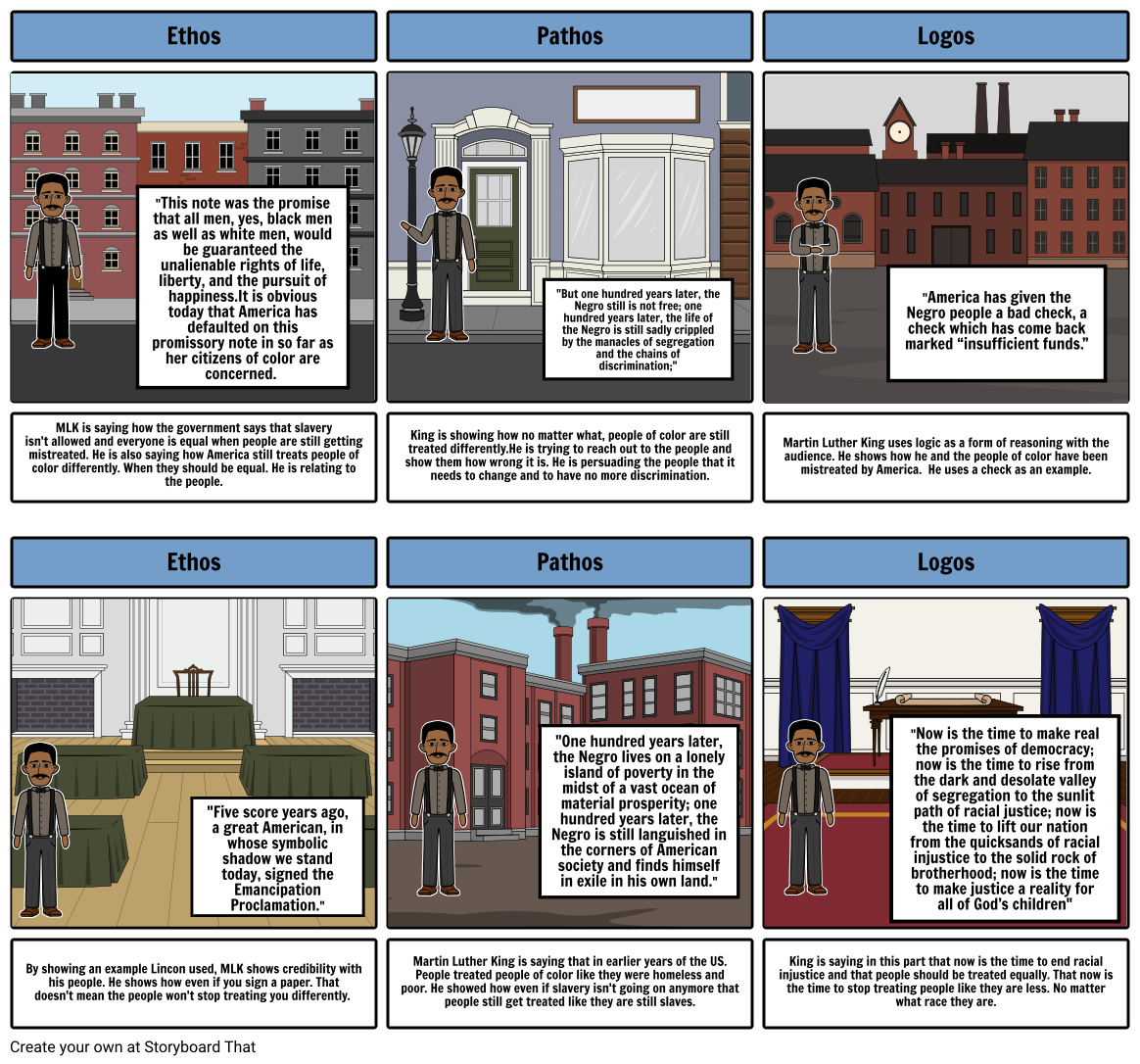 Martin Luther King story board