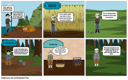 Paleolithic and Neolithic age storyboard.