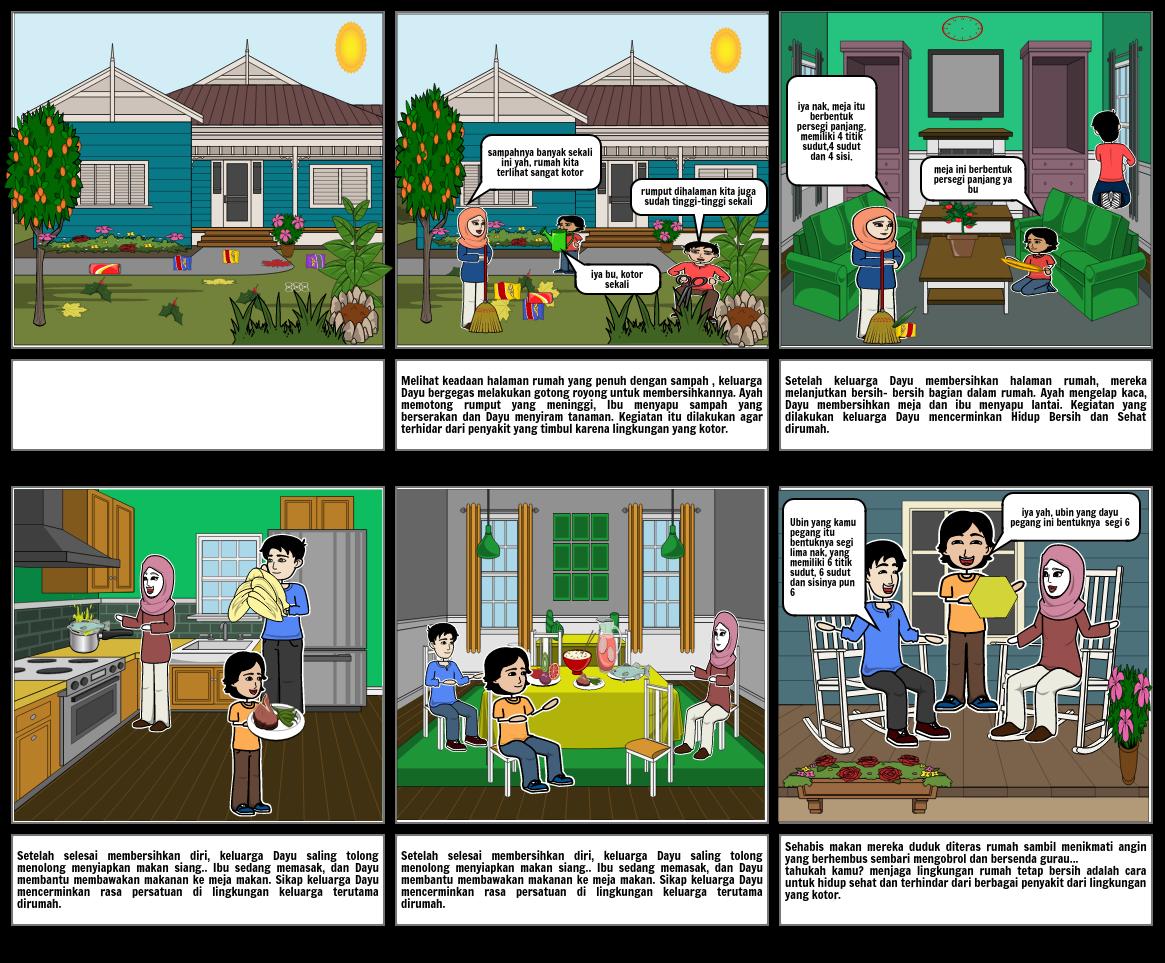 Hidup Bersih Dan Sehat Dirumah Storyboard By 6342a53b