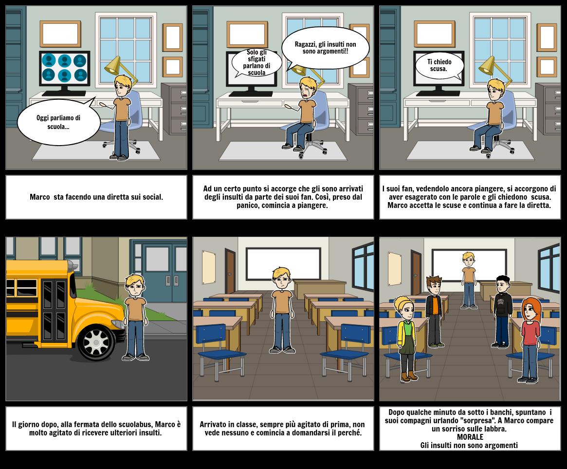 Storyboard sul ciber bullismo modificato