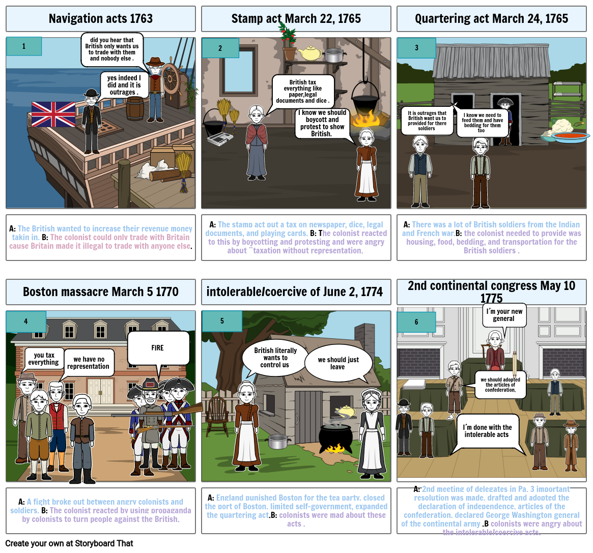 Road to american Revolution Storyboard project