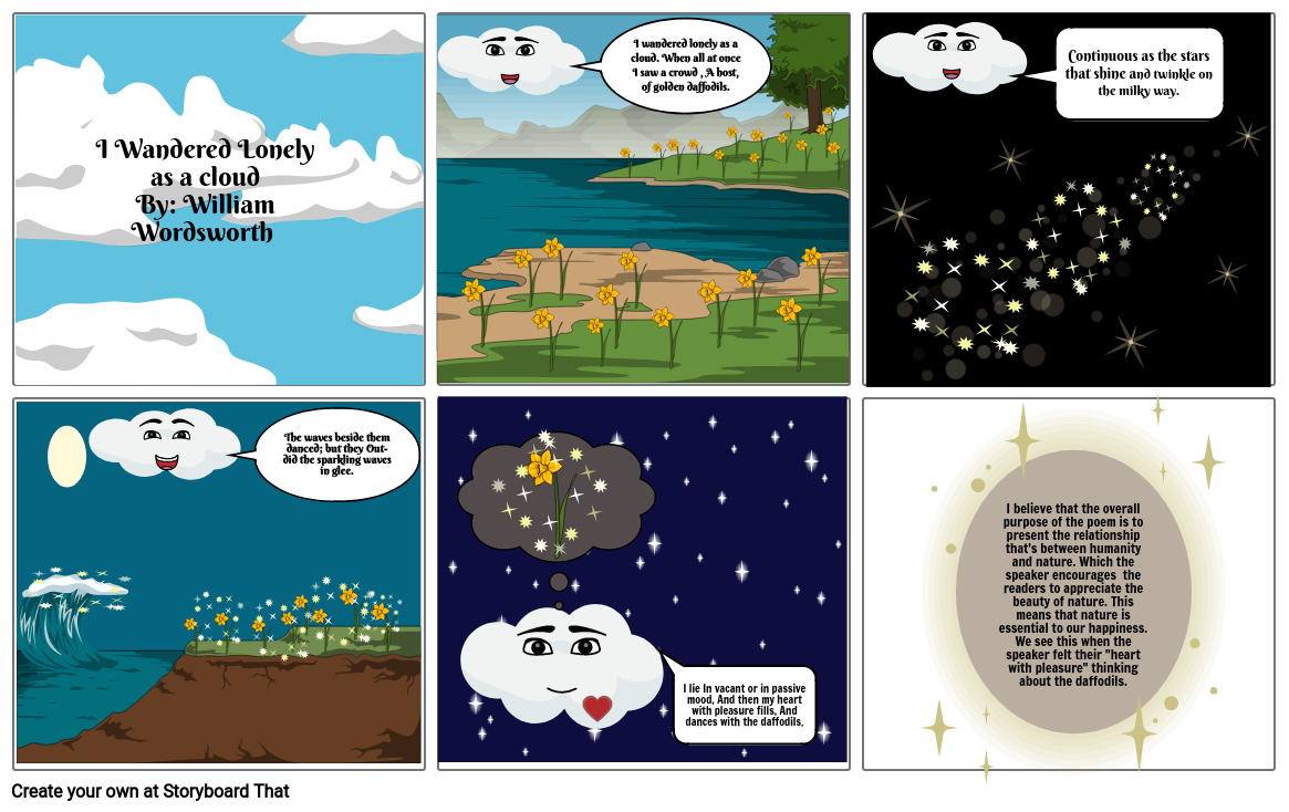"""I wandered Lonely as a cloud"" comic strip"