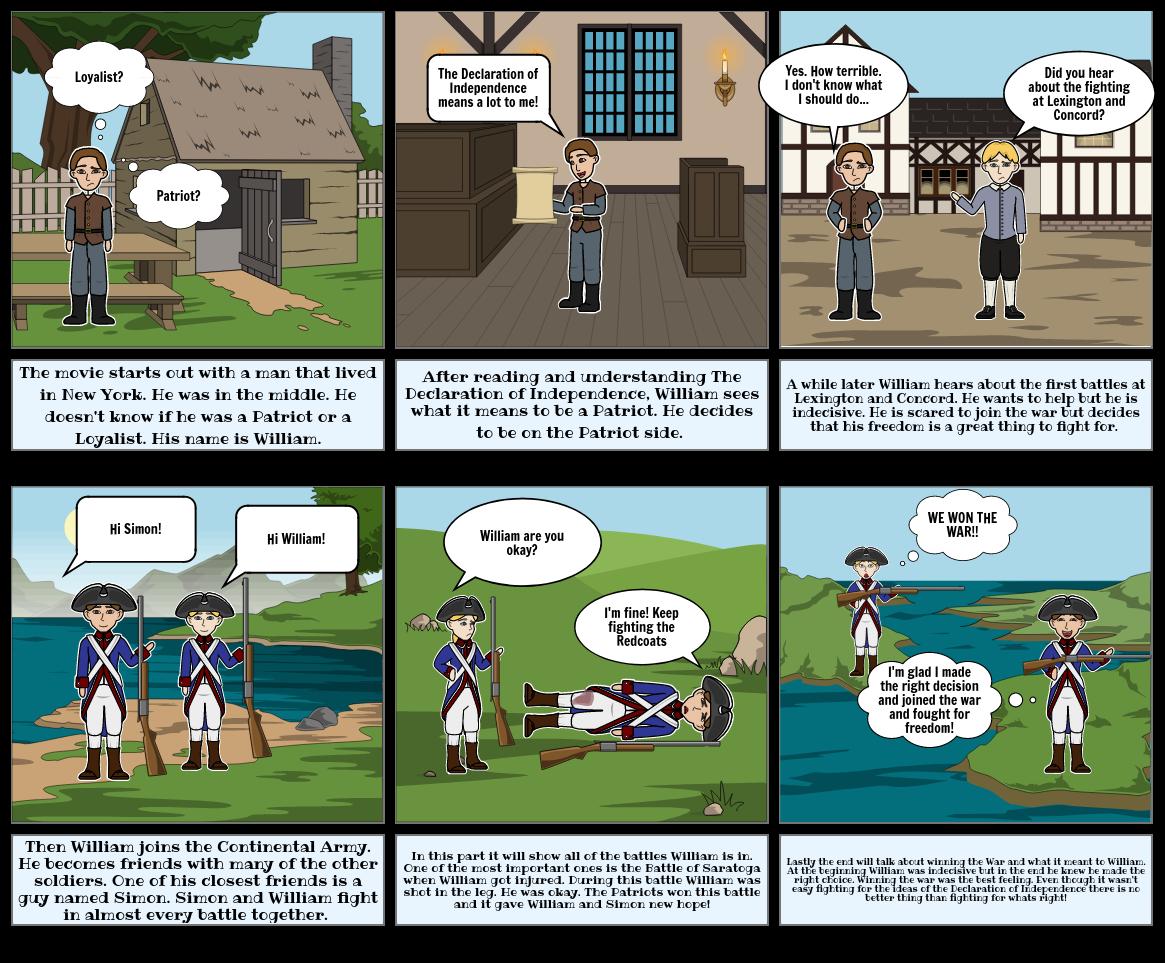 Revolutionary War storyboard