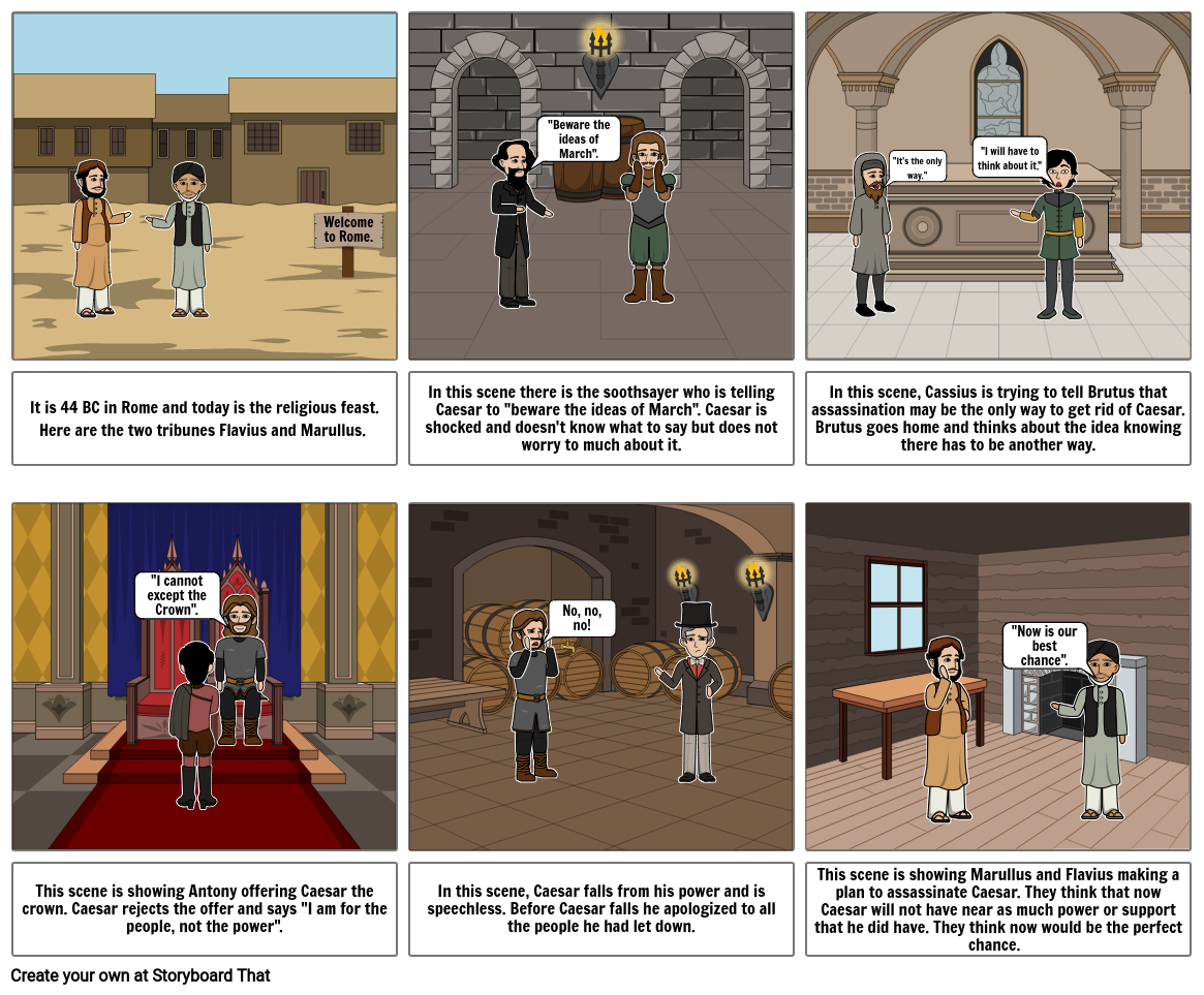 Act 1 Julius Caesar Storyboard