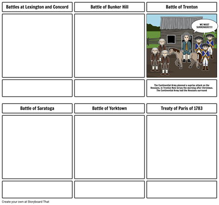 Story board-revolutionary war and valley forge