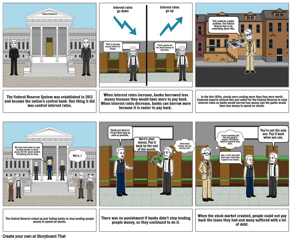 Causes of the Great Depression Comic Strip