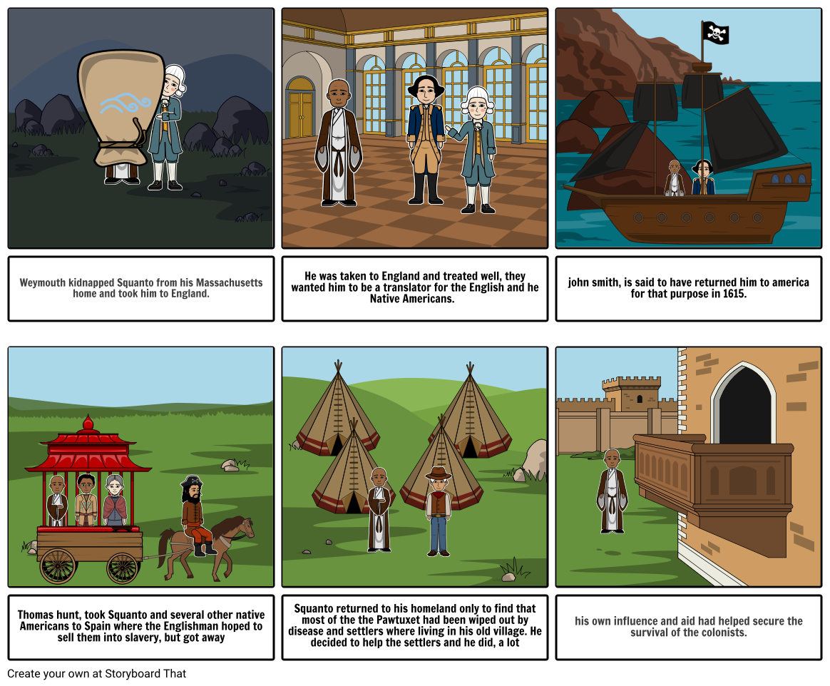 Squanto life storyboard.