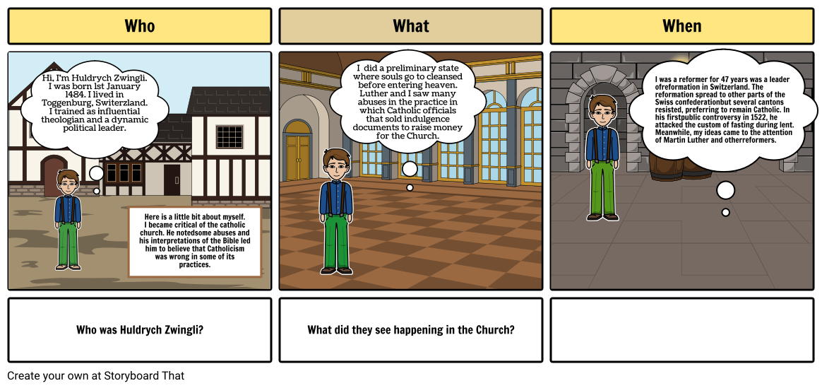 Huldrych Zwingli Storyboard of his life!