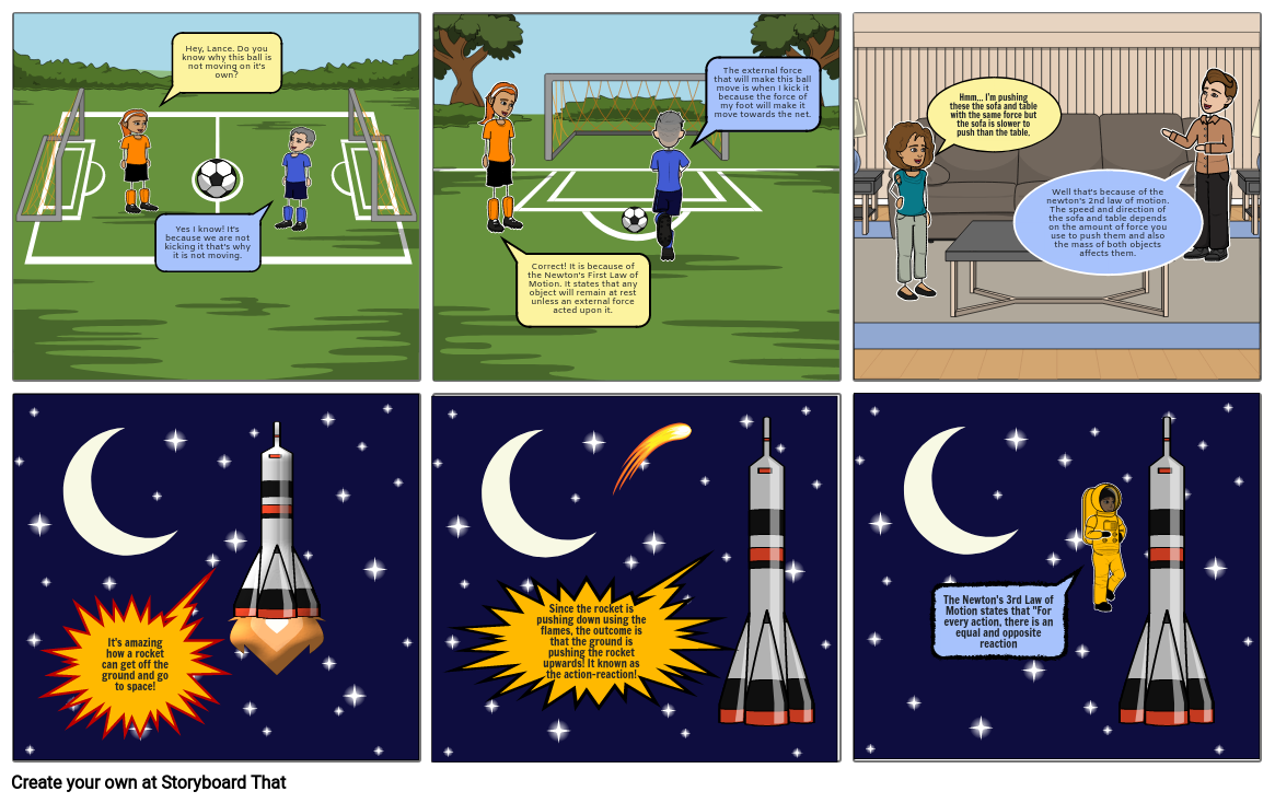 COMICS ABOUT THREE LAWS OF MOTION