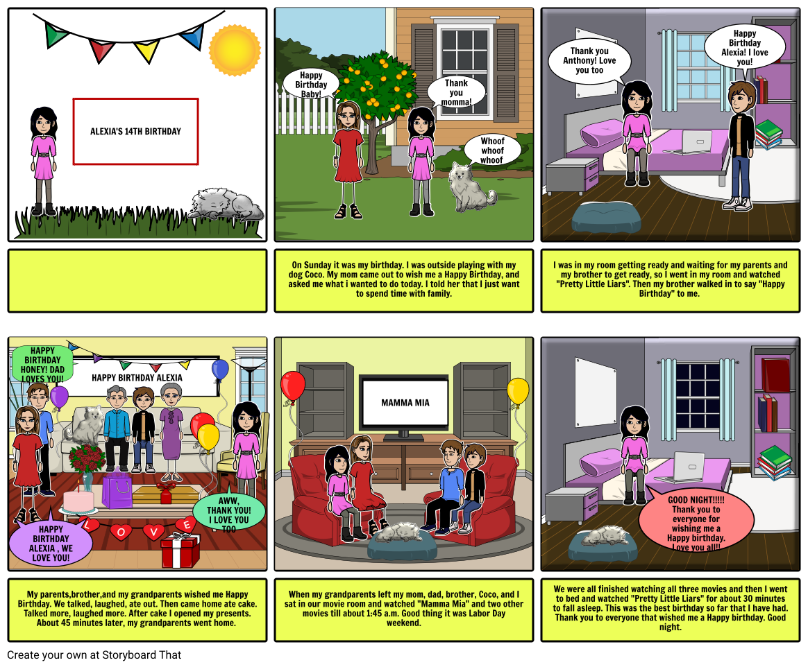 alexia's 14th birthday storyboard