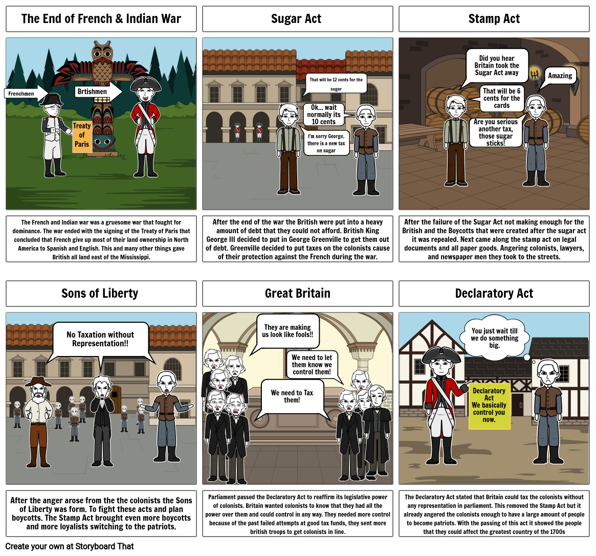 Cause of the American Revolution; Comic Strip-Minor Assessment