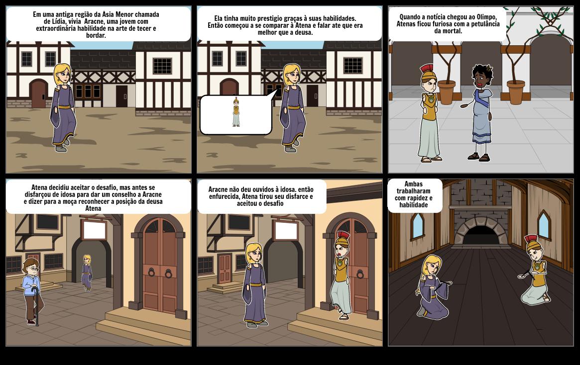 lenda de aracne e atena ( primeiros quadrinhos)